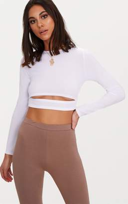 PrettyLittleThing White Rib Long Sleeve Under Bust Crop Top