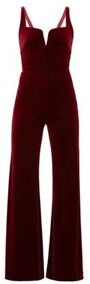 Galvan Eclipse Velvet Wide Leg Jumpsuit - Womens - Burgundy