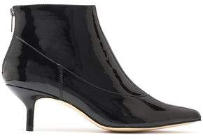 Halston Tiana Patent-Leather Ankle Boots