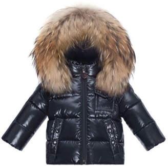 Moncler K2 Hooded Fur-Trim Puffer Jacket, Navy, Size 12M-3T