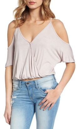 Women's Lush Surplice Cold Shoulder Top $32 thestylecure.com
