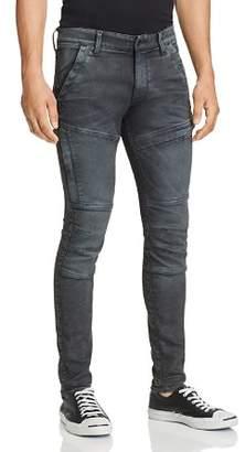 G Star Rackam Skinny Fit Moto Jeans in Dark Aged