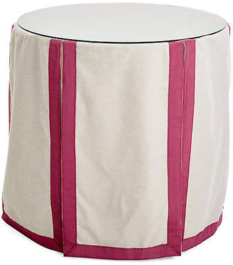 One Kings Lane Eden Round Skirted Table - Oatmeal/Mauve