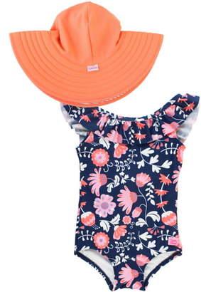 RuffleButts Botanical Beach One-Piece Swimsuit & Floppy Sun Hat Set