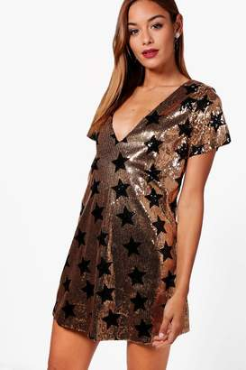 boohoo Sequin Star Print Shift Dress