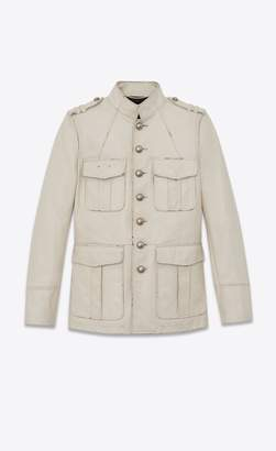 Saint Laurent Safari Jacket In Vintage Crinkled Leather With Officer Buttons