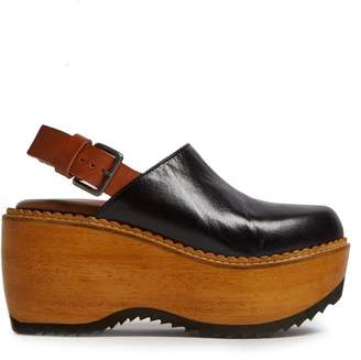 Marni Leather And Wood Slingback Clog Sandals - Womens - Black