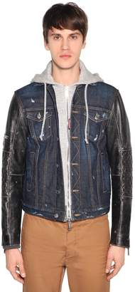 DSQUARED2 Denim & Leather Jacket W/ Jersey Hood