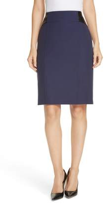 BOSS Valeta Soft Twill Faux Leather Detail Pencil Skirt