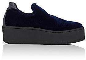 Barneys New York WOMEN'S VELVET PLATFORM SLIP-ON SNEAKERS - NAVY SIZE 10