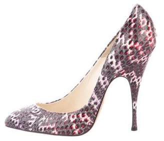 Brian Atwood Snakeskin Pointed-Toe Pumps