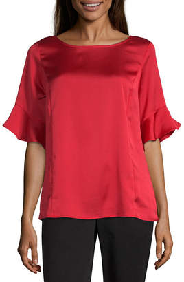Liz Claiborne Ruffle Sleeve Popover - Tall