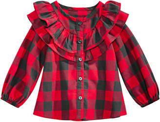 First Impressions Baby Girls Ruffled Plaid Cotton Shirt