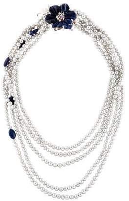 Bounkit Pearl & Multistone Flower Necklace