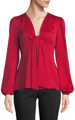 MICHAEL Michael Kors Tie-Neck Long-Sleeve Woven Blouse