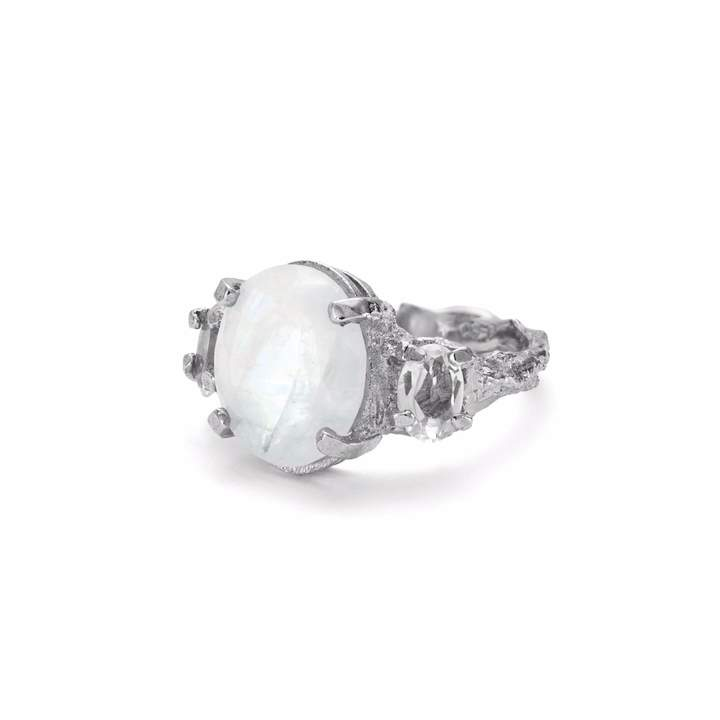 Chupi - Dew Drop In The Wild Ring Moonstone & Crystal Quartz Silver