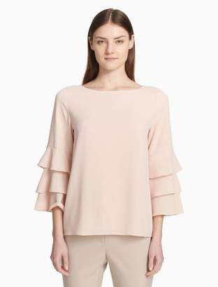 Calvin Klein tiered 3/4 sleeve blouse