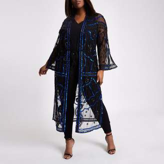 River Island Womens Plus Black sequin embellished kimono