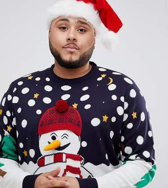 Brave Soul Plus Holidays Naughty Snowman Sweater