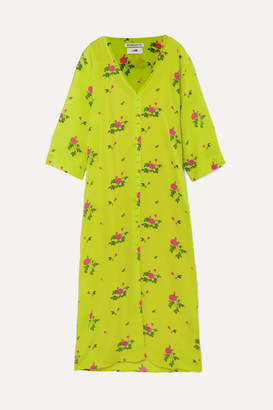 BERNADETTE - Neon Floral-print Silk Crepe De Chine Midi Dress - Yellow