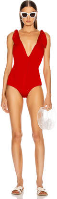 Adriana Degreas x Cult Gaia Ribbing V Neck Swimsuit in Red | FWRD