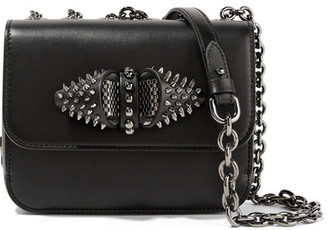 Christian Louboutin - Sweet Charity Embellished Leather Shoulder Bag - Black $1,700 thestylecure.com