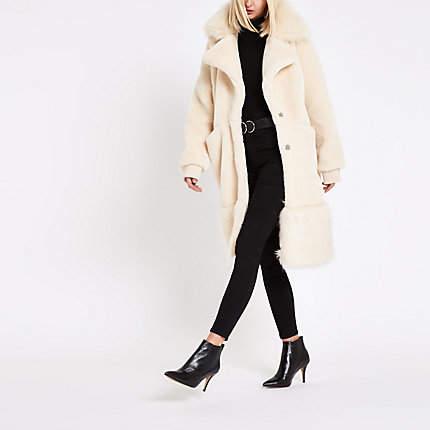 Womens RI Studio Cream faux fur collar teddy coat