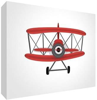 Keepsake Feel Good Art Block – Decorative of Baby, Aeroplane Medio - 10.5 x 14.8 x 2 cm red / white