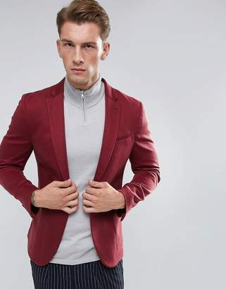 Asos Super Skinny Blazer In Burgundy Jersey