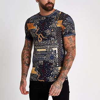 River Island Black print crew neck slim fit T-shirt