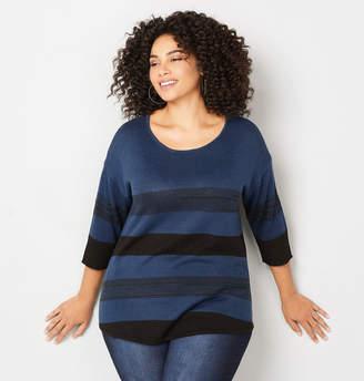Avenue Striped Dolman Pullover Sweater