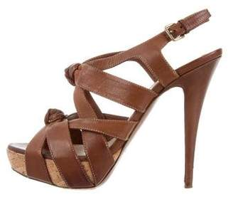 Miu Miu Leather Knot-Accented Sandals
