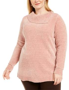 Karen Scott Plus Size Chenille Split Neck Pullover, Created For Macy's
