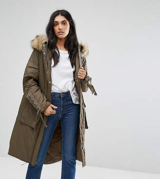 Asos Tall TALL Parka With Lace up Dip Hem