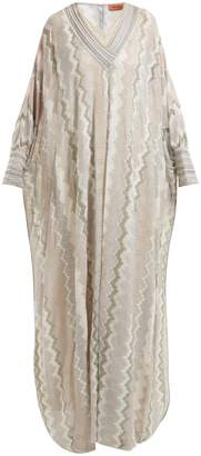 Missoni Metallic zigzag-knit kaftan