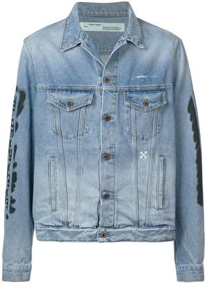 Off-White stonewashed printed denim jacket