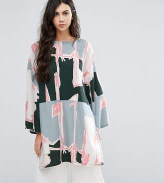 WÅVEN Tall Graphic Print Oversized Tunic Dress