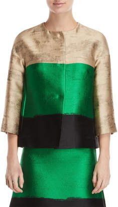 Les Copains Striped Three-Quarter Sleeve Jacket