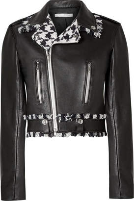 Oscar de la Renta Frayed Tweed-trimmed Leather Biker Jacket - Black