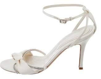 Judith Leiber Satin Jeweled Sandals