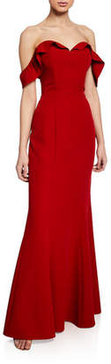 WAYF The Lisa Strapless Trumpet Gown w/ Lace-Up Back