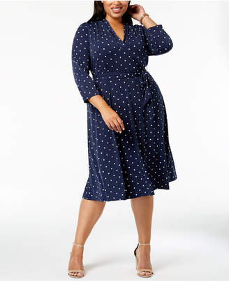 Charter Club Plus Size Dot-Print Fit & Flare Dress
