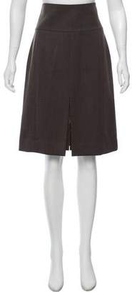 Akris Leather-Trimmed Wool Skirt w/ Tags
