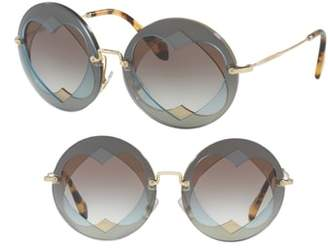 Miu Miu 62mm Layered Heart Round Sunglasses
