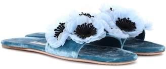 Miu Miu Floral-embellished velvet slides