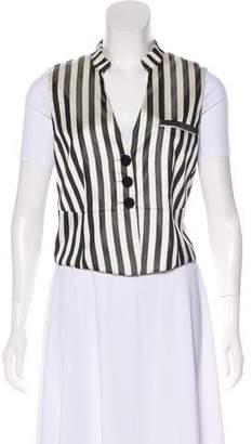 Giorgio Armani Striped Silk-Blend Vest w/ Tags