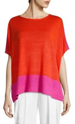 Eileen Fisher Linen Colorblock Top