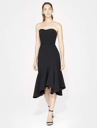 Halston STRAPLESS FITTED FLOUNCE SKIRT DRESS