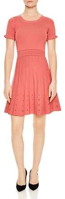 Sandro Etor Eyelet-Detail Pleated Knit Dress