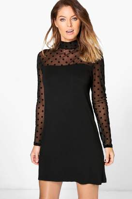 boohoo Brenda High Neck Spot Print Shift Dress